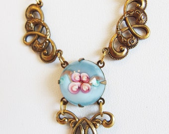 Lovely Vintage Victorian Style Pastel Floral Glass & Brass Long Necklace by Sadie Green