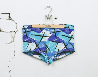 Vintage 1960s Men's SWIM TRUNKS . 60s Mod Swimwear Swim Briefs Blue White Geometric Abstract Print Beach Shorts . size Medium Large XL