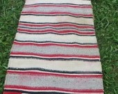 Extra Large antique  Vintage Saddle Blanket woven  Wool Rug with leather  63 x 32 in