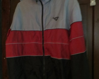 vintage  PONY   hooded  nylon  Windbreaker  colorblock   BLACK  cranberry and grey striping sz large