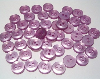 SALE  50 Pearly Lilac Purple Vintage Plastic Buttons 10mm Doll Size Craft Sewing Buttons Set 50
