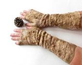 Hand Felted Mittens, felt fingerless gloves,  Brown gloves, dark brown wool mittens,   Cozy winter Gloves, wool arm warmer by Galafilc