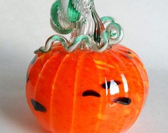 Hand Blown Glass Pumpkin Orange Yellow and Black Halloween Pumpkin Holiday Decor