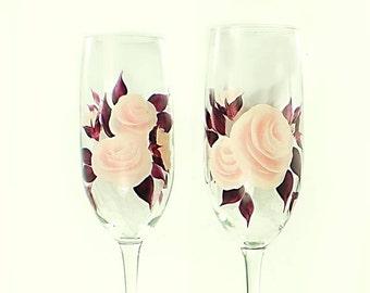 Elegant Hand-Painted Champagne Glasses - Delicate Blush Pink Roses, Dark Plum Leaves Set of 4 - Wedding Gift Ideas