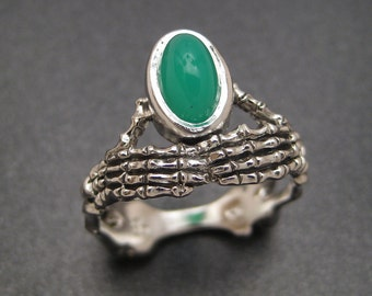 Sterling Skeletal Ring with Chrysoprase