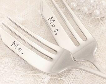 Mr. Mrs. Wedding Forks - Petite Pastry Fork Set
