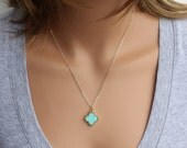 Clover Necklace, Blue Clover Necklace, Turquoise Clover Necklace, Celebrity Inspired, Everyday Necklace, Quatrefoil Necklace, Clover Jewelry