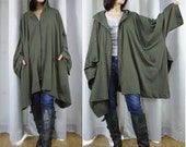 Chic Modern Casual Oversize Dark Army Green Cotton Jersey Zip Front Coat Jacket Poncho Hood Winter Fall Women Men Jacket Coat Size14 To 5X