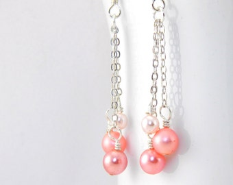 Peaches and Cream Dangle Earrings, Long Coral Dangle Earrings with Surgical Steel Ear Wires