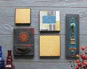 vintage wall art gallery - Architectural Review - 5 pc collection - wall decor