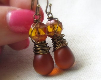 Cognac Earrings, Czech Glass, Brown Glass Earrings, Amber Topaz, Antiqued Brass, Wire Wrapped, Teardrop Earrings, Honey Brown, Everyday Wear