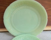 Vintage Alice Jade-Ite Plate Jadeite Fire-King Jade Green Floral Rim Anchor Hocking Restaurant ware