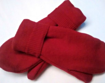 Red mittens, totally red, recycled sweaters, fleece lined mittens, etsy sweater mittens, red mittens,  felted wool