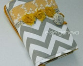 Made to Fit Chevron Grey Chevron and  Mustard Yellow & Lace Floral Rosette and Hearts Bible Journal Cover Choose Your Accent Color
