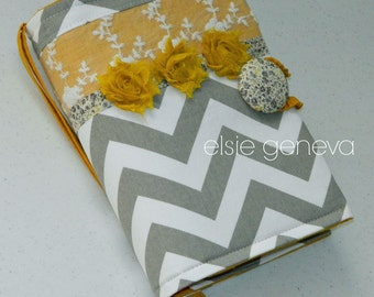 Bible Journal Cover Made to Fit Chevron Grey Gray and  Mustard Yellow & Lace Floral Rosette and Hearts Choose Your Accent Color