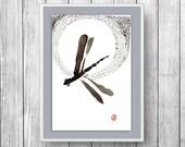 Dragonfly zen painting, Zen fine art sumi ink painting, Dragonfly, zen japanese illustration, issa haiku, zen decor, inspirational art decor