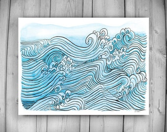 Zen Taoist Ocean Water and Waves Painting, original sumi ink and watercolor paintiing, zen decor, spiritual art, japan illustration, taoist