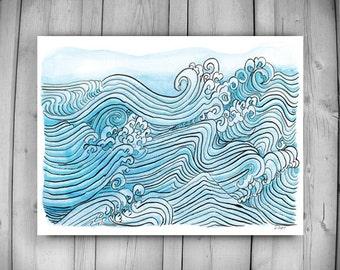 Zen Taoist Ocean Water and Waves Painting, original sumi ink and watercolor paintiing, zen decor, spiritual art, japan illustration, taoist