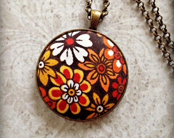 Retro Floral Necklace  Antique Bronze Necklace Flower Necklace Brown Rust Orange Yellow Cream Fabric Necklace Gifts for Her