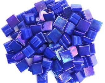 "100 Royal Blue MINI Iridescent Vitreous Glass Mosaic Tiles 3/8""//Mosaic//Mosaic Supplies"
