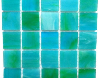 """20mm (3/4"""") Caribbean Blue and Green STAINED GLASS Mosaic Tiles//Machine Cut Tiles//Mosaic Pieces//Mosaic Supplies"""