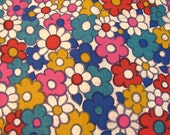 """Vintage 1970s Flower Power 44"""" Wide Fabric - Medium Weight - Cotton Blend - By the Yard-"""