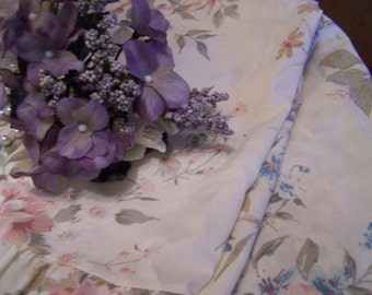 Vintage Ruffled Pillow Shams, Pair, Cottage Chic, Dusty Rose, Ivory, Teal, Romantic, Victorian
