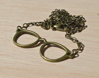 bronze glasses necklace