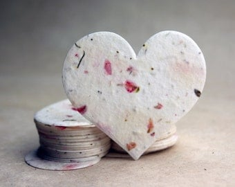 """Large Pink Seed Paper Hearts 2.85""""w x 2.5""""h Wildflower Pink Larkspur Petals for Weddings or Events"""