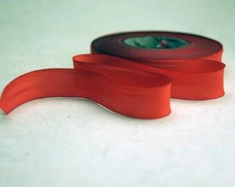Hand Dyed Silk Ribbon 15mm 5/8 inch 3 yard Bias Cut Limited Orange