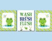Frog Bathroom Art, Kids Bathroom, Wash, Brush, Flush, Shared Bathroom, Children's Bathroom, Blue Green Orange, Set of 3, Prints or Canvas