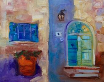 5 x 7 Original Impressionist Italian Tuscan Villa Oil Painting by Rebecca Croft