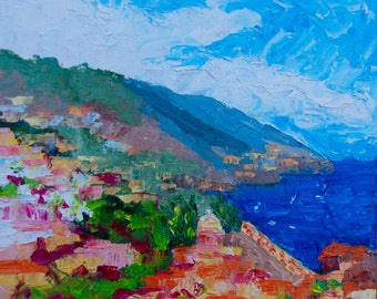 12 x 12 Original Impasto Palette Knife Impressionist Oil Painting of Positano on the Amalfi Coast Italy Landscape by Rebecca Croft
