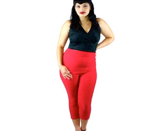 Classic Red High Waisted Capri Pants