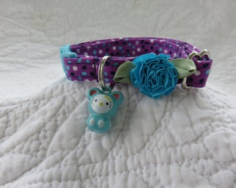 Cat Collar with   bell Breakaway Collar Custom Made