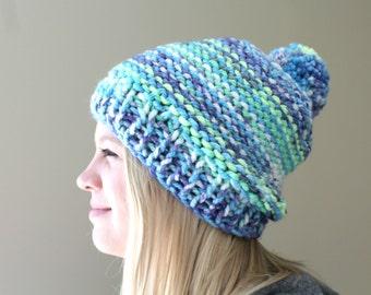 Big Knit Pom Pom Hat, Blue, Lime Green, Purple Knit Pom Hat, Super Chunky Knit Hat, Slouchy Knit Hat, Hat Fall Trends, Hand Knit Pom Pom Hat