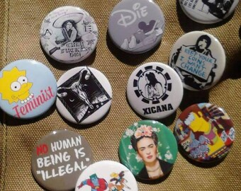 Political Feminist Anarchy Choose 3 Buttons