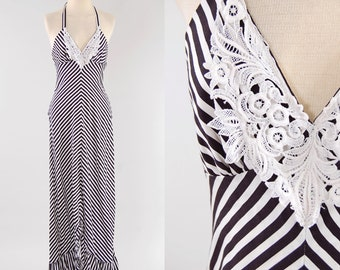 Vintage 70s black and white stripe YOUNG EDWARDIAN halter dress / Fish tail hem / Fitted sexy maxi