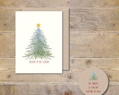 Christmas Cards, Christmas Tree,  Ornaments, Holiday Cards, Handmade, Rustic Christmas, Christmas Card Set, Star, Tree, Christmas