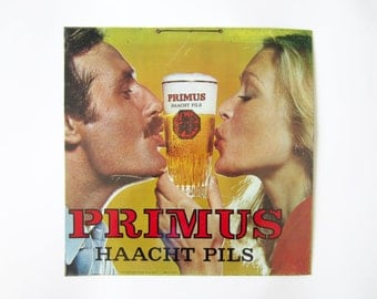 Vintage advertising PANEL SIGN⎮PRIMUS Haacht pils beer⎮woman man⎮metal panel⎮yellow red⎮bistro bar pub decor
