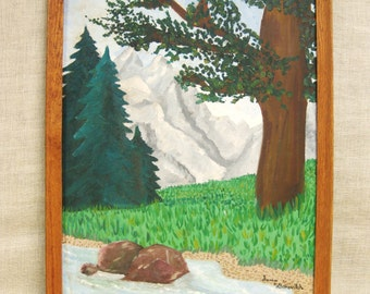 Landscape , Painting , Naive , Mountains , Nature , Wilderness , Forest , Handmade , Original , Art , Framed Painting , Rustic , Cabin Decor