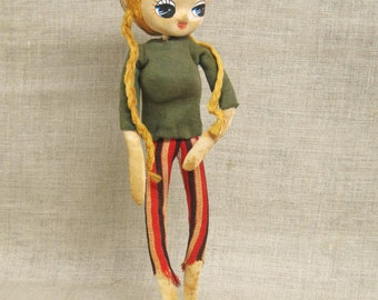 Doll , Mid-Century Toys , Dolls , Skinny , Japan , Big Headed , Posable Doll , Vintage Toys , Female , Girl Doll , Beatnick , Big Eyed Doll
