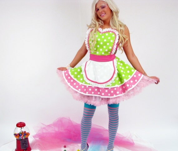 Christie Creme Donut Shop Waitress Apron with White Frosting Ruffles