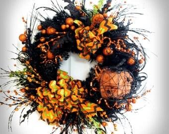 Halloween Wreath * Black and Orange Wreath * Pumpkin Wreath * Halloween Decor * Front Door Wreath * Pumpkin Decor * Wreath Halloween