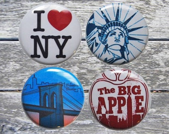 New York Buttons - set of 4 pinback buttons
