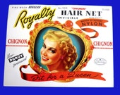 Unused Vintage 1940s Hair Net  in Package - FIT FOR A QUEEN  - Crisp  and Clean - Looks Great Framed - Gay Interest Collectible
