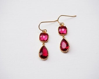 Ruby and gold earrings - drop earrings. In the Moment by A.L. Boutique