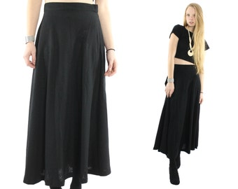 Vintage 80s Full Maxi Skirt Black Light Wool Winter Fashion High Waisted Skirt Womens Fall Winter Fashion1980s Medium M