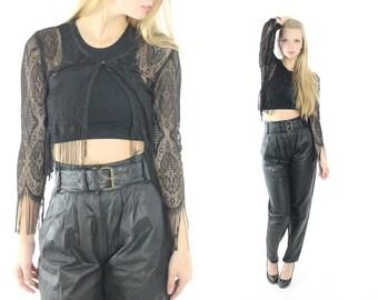 Vintage 90s Lace Bolero Jacket Fringe Antique Lace Jacket Black 1990s Fall Fashion Long Sleeve Blouse Medium M Blazer La Belle