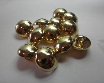 12 Gold Buttons-Dome - bright - self shank - metalized plastic - 5/8 inch each